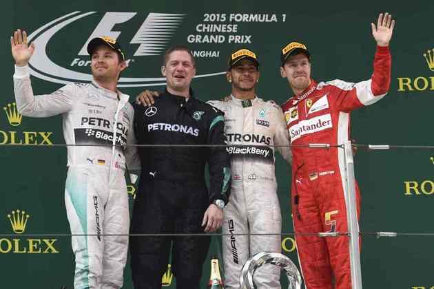 35 - O GP da China de 2015 teve vitória de Lewis Hamilton. E o pódio com Nico Rosberg e Sebastian Vettel, o que mais se repetiu na história da Fórmula 1