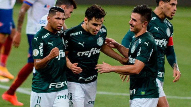 4º colocado – Palmeiras (41 pontos/24 jogos): 3,9% de chances de ser campeão; 69,4% de chances de Libertadores (G6); 0,001% de chances de rebaixamento.