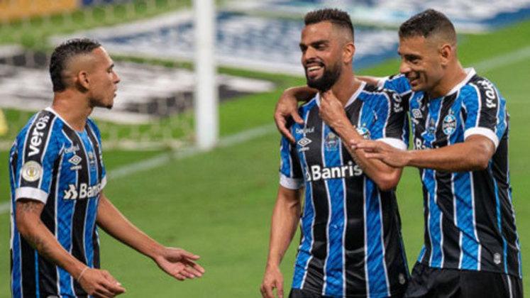 5º colocado – Grêmio (42 pontos/25 jogos): 3,6% de chances de ser campeão; 79,6% de chances de Libertadores (G6); 0,0% de chance de rebaixamento.