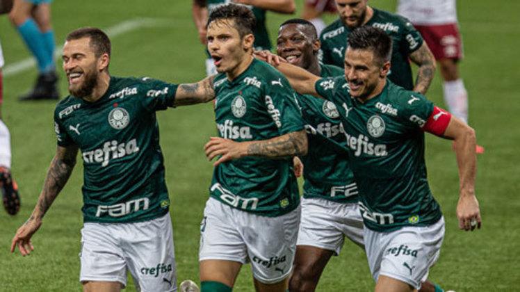 5º colocado – Palmeiras (34 pontos) – 7.5% de chances de título; 65.7% para vaga na Libertadores (G6); 0.12% de chance de rebaixamento. (Com um jogo a menos no Brasileirão)