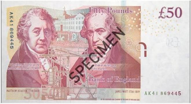 Matthew Boulton e  James Watt ilustram a nota atual de 50 libras na Inglaterra