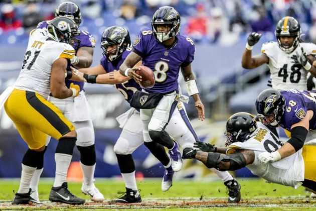 6º Baltimore Ravens - A defesa é de alto nível, mas o ataque não engrena. O que acontece com o MVP de 2019?