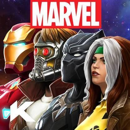 """6 – MARVEL Contest of Champions: """"Capitão América X Homem de Ferro! Hulk X Wolverine! Homem-Aranha X Deadpool! As maiores batalhas da história da Marvel estão em suas mãos! O ganancioso ancião do universo, conhecido como Colecionador, convocou você para uma briga de proporções épicas contra um grupo de vilões, incluindo Thanos, Kang e muitos outros!"""""""