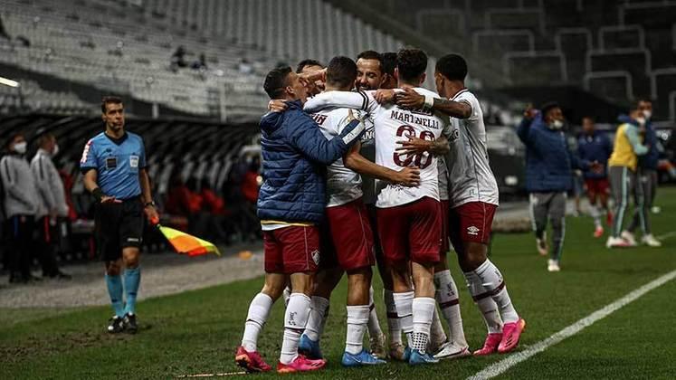 7º colocado – Fluminense (17 pontos) – 11 jogos / 2.8% de chances de título; 35.6% para vaga na Libertadores (G6); 3.8% de chance de rebaixamento.