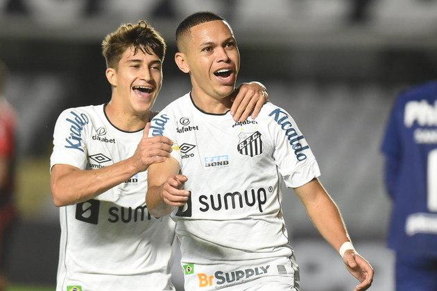 7º colocado – Santos (15 pontos) – 10 jogos / 2,8% de chances de título; 31.1% para vaga na Libertadores (G6); 6.8% de chance de rebaixamento.