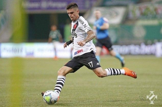 7º - Gabriel Pec - Time: Vasco - Posição: Ponta Direita - Idade: 20 anos - Valor segundo o Transfermarkt: 2 milhão de euros (aproximadamente R$ 12,36 milhões)