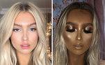 Esta blogueira, por exemplo, deixou dúvidas se está apenas maquiada ou se passou por uma sessão intensa de bronzeamento