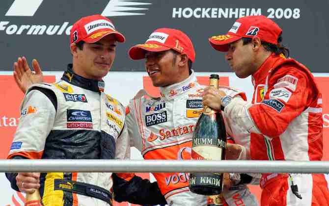 8 - A oitava vitória de Lewis Hamilton na Fórmula 1 foi no GP da Alemanha de 2008, acompanhado de dois brasileiros: Nelsinho Piquet e Felipe Massa