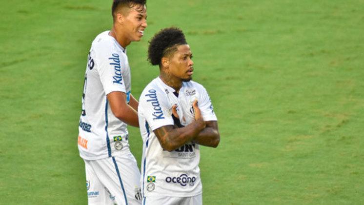 8º colocado – Santos (39 pontos/27 jogos): 0.027% de chances de ser campeão; 10.0% de chances de Libertadores (G6); 0.077% de chances de rebaixamento.