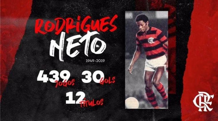 8 - Rodrigues Neto - Mineiro de Galileia, nasceu em 6/12/1949 e morreu no Rio em 29/4/2019, por trombose. Defendeu com muito sucesso o Flamengo (1967/75), Fluminense (1976) e Botafogo (77/78), além de Ferro Carril e Boca Juniors (ambos da Argentina) e Inter-RS. Defendeu a Seleção na Copa-78 e ganhou com a Amarelinha a Taça Independência-1972. Seus pontos fortes: marcação e apoio.