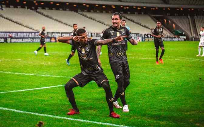 9º colocado – Ceará (35 pontos/26 jogos): 0,017% de chances de ser campeão; 9,9% de chances de Libertadores (G6); 0,90% de chance de rebaixamento.