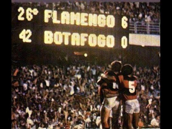 9. Flamengo 6x0 Botafogo - 6/11/81 - Goleada e troco histórico no rival alvinegro, que tirava sarro pelo mesmo placar, em 1972. Os gols foram de Nunes, Zico (2), Lico, Adílio e Andrade.