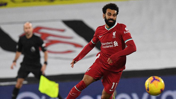 9º lugar - Mohamed Salah - Pais: Egito - Idade: 28 anos - Posição: Ponta-direita - Clube: Liverpool - Valor de acordo com a consultoria KPMG em maio de 2021: 110 milhões de euros (aproximadamente R$ 703,55 milhões)