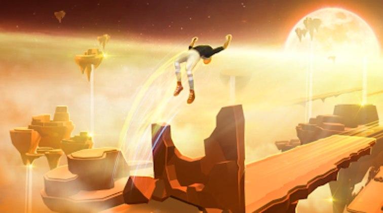 """9 – Sky Dancer Run: """"Você deve se tornar um """"dançarino dos céus"""". Nele, você controla um personagem destemido que precisa saltar entre plataformas de pedra que flutuam sobre um mundo estranho e fantástico. Seu objetivo é conseguir realizar os movimentos da forma mais precisa possível, cravando saltos no tempo certo, bem como pousos e outras acrobacias."""""""
