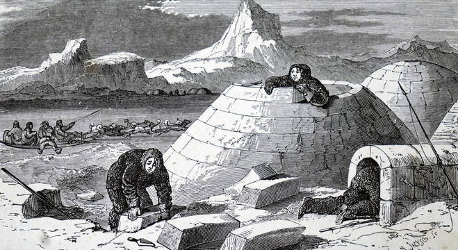 A 19th Century engraving depicting Eskimo people making an igloo.