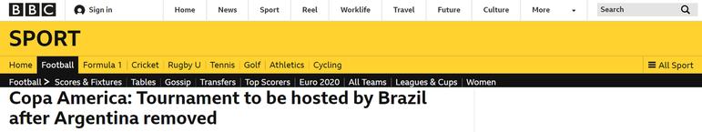 A BBC, da Inglaterra, fez críticas ao presidente Jair Bolsonaro, dizendo também que a decisão final de sediar a Copa América é 'sobre dinheiro'. Além disso, os britânicos também citam o estado atual da saúde pública brasileira em relação à pandemia de Covid-19.