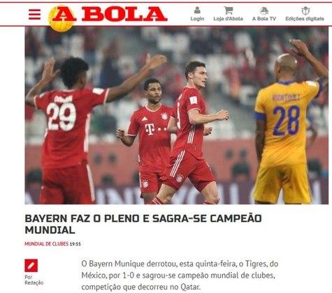 A Bola - O jornal português destacou a vitória tranquila do favorito Bayern de Munique.