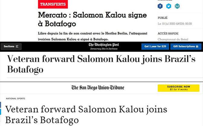 A chegada de Salomon Kalou ao Botafogo virou notícia no mundo inteiro. Diversos veículos internacionais repercutiram a contratação do atacante marfinense de 34 anos. O LANCE! listou os principais veículos que noticiaram o fato.