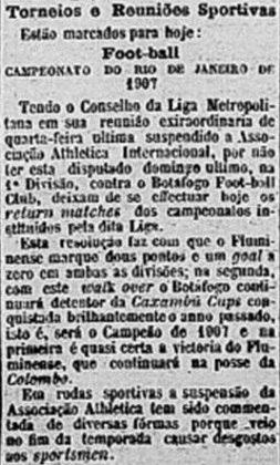 A conduta do Internacional causava dores de cabeça desde o primeiro turno. A LMF decidiu suspender a equipe no primeiro turno, e ela não enfrentou o Fluminense. Foi computada vitória por 1 a 0.