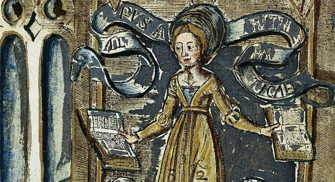 A Dama da Aritmética em uma xilogravura colorida à mão de 'Margarita Philosophica' ('A Pérola Filosófica'), de Gregor Reisch (1467 -1525)