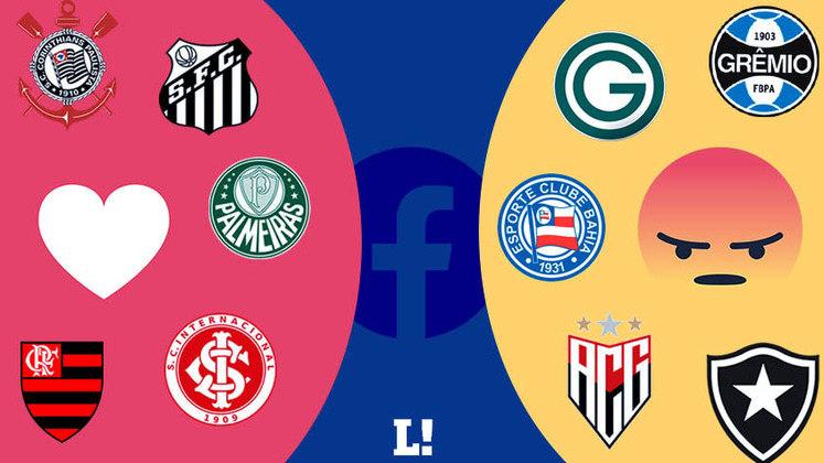 A empresa de marketing esportivo Sports Value publicou um estudo que mostra quais clubes do Brasileirão mais receberam reações de amor e de raiva em seus perfis no Facebook durante o período de 1/1/2021 até 9/2. As medições foram desenvolvidas pela plataforma Zeeng, que consegue colher dados em sites. A  conta