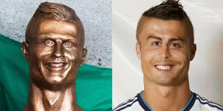 A estátua feita em homenagem a Cristiano Ronaldo virou piada em 2017