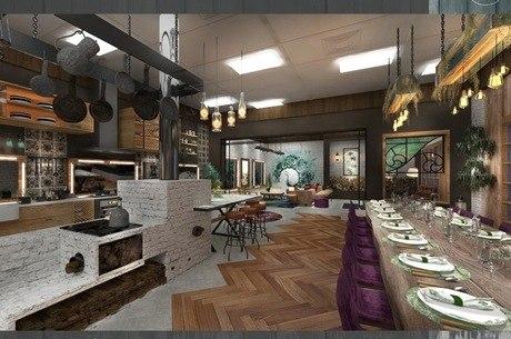 Uma visão da cozinha e mesa de jantar