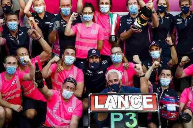 A festa da Racing Point pelo pódio obtido com Lance Stroll em Monza