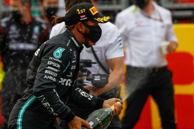 A festa de Lewis Hamilton no pódio do GP da Estíria