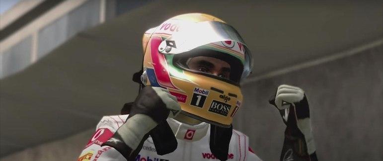 A franquia de jogos foi evoluindo. No F-1 2011, era possível ver Hamilton comemorando vitórias.