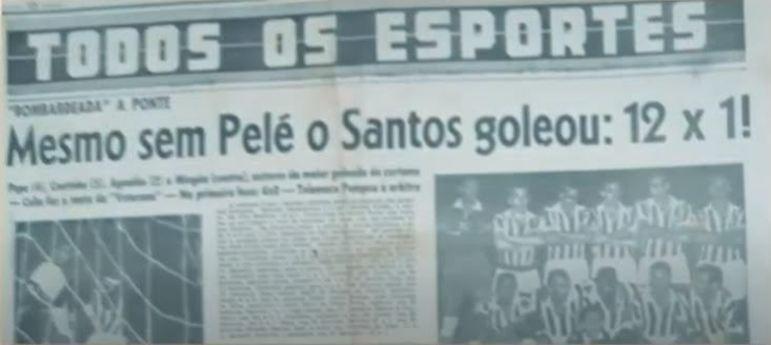 A geração que encheu os olhos dos torcedores do Santos garantiu a maior goleada da história da equipe. Em 1959, foram implacáveis 12 a 1 na Ponte Preta. Com um detalhe destacado pelos jornais: SEM PELÉ!