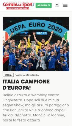 A Itália está em festa após a seleção do país ter conquistado o bicampeonato da Eurocopa, título que os italianos não ganhavam desde 1968. Com a vitória, muitos jornais parabenizam a Azurra pelo feito, enquanto outros enfatizam o sofrimento dos ingleses pela derrota. Confira as capas pelo mundo dos principais jornais esportivos sobre a conquista italiana!