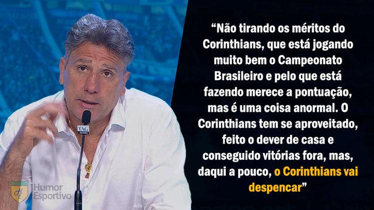 A larga vantagem que o Corinthians conseguiu nas primeiras rodadas do Brasileirão 2017 gerou uma declaração polêmica de Renato:
