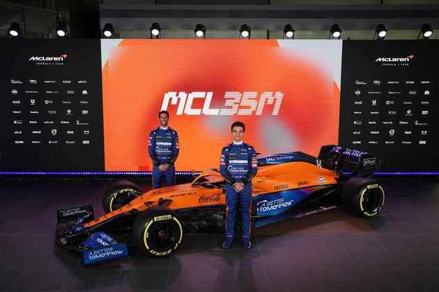 A McLaren MCL35M, carro para a temporada 2021, foi apresentada nesta segunda-feira (15) na sede da equipe em Woking, na Inglaterra