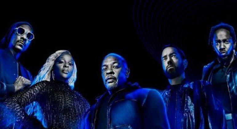 A NFL definiu os nomes do halftime show do Super Bowl LVI. Dr. Dre, Snoop Dogg, Eminem, Mary J. Blige e Kendrick Lamar serão as atrações em 2022. Relembre grandes apresentações que fizeram história!