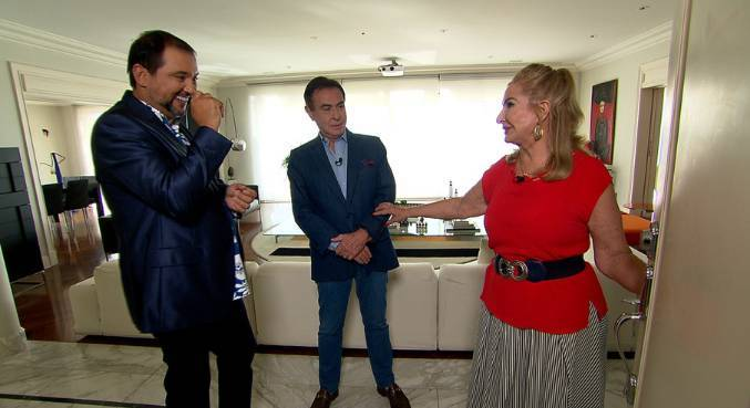 Amaury Jr. e esposa recebem Geraldo Luis