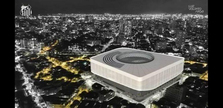 A nova arena do Santos ficaria projetada dessa forma. O projeto foi arquitetado por Luiz Volpato, irmão do gernante administrativo do Peixe, Fernando Volpato
