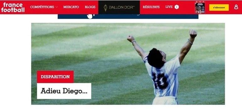 A popular revista especializada 'France Football' também repercutiu a morte da lenda do futebol, Diego Armando Maradona.