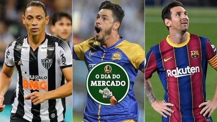 A terça-feira foi bastante agitada no mercado da bola. O Coritiba está próximo de assinar com Ricardo Oliveira, Giuliano está livre no mercado, Atlético de Madrid sonha com Lionel Messi para próxima temporada... Confira o dia do mercado!