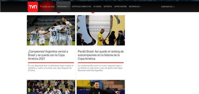 A TVN foi mais uma que exaltou o título argentino sobre o Brasil.