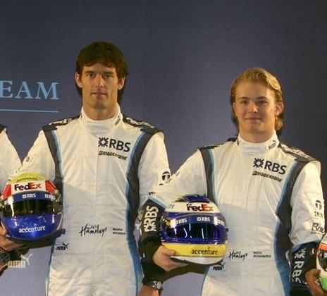 A Williams, hoje no fundo do grid, tinha Mark Webber e o futuro campeão mundial Nico Rosberg.