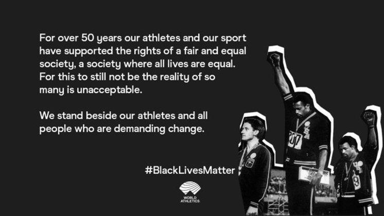 A World Athletics, a federação internacional de atletismo, publicou a foto icônica do gesto Black Power feito por Tommie Smith e John Carlos no pódio dos 200m na Olimpíada da Cidade do México-1968, e disse: