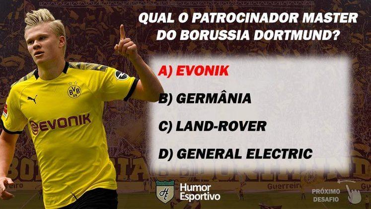 Acertou a resposta? Passe para o próximo time! Obs: a Evonik é exibida nos jogos internacionais, enquanto na Bundesliga o espaço principal da camisa é patrocinado pelo provedor de serviços de internet