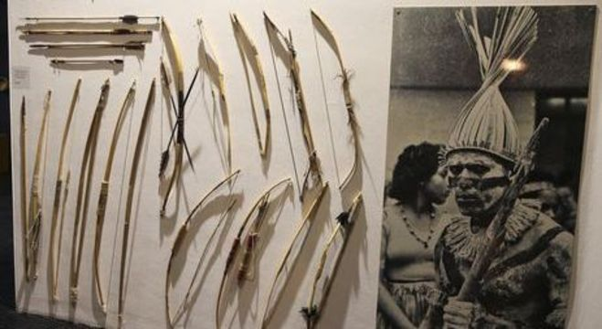 Parte do acervo do Museu Nacional em exposição em Brasília