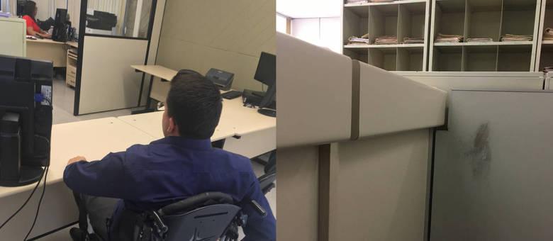 FOTO 01: Thiago Helton em uma secretaria de juízo aguardando atendimento em frente a uma mesa. FOTO 02:  Imagem de um balcão alto e sujo visto da altura de um cadeirante.