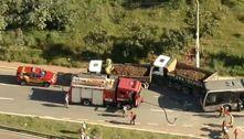 Acidente entre ônibus e caminhões deixa feridos na zona leste de SP
