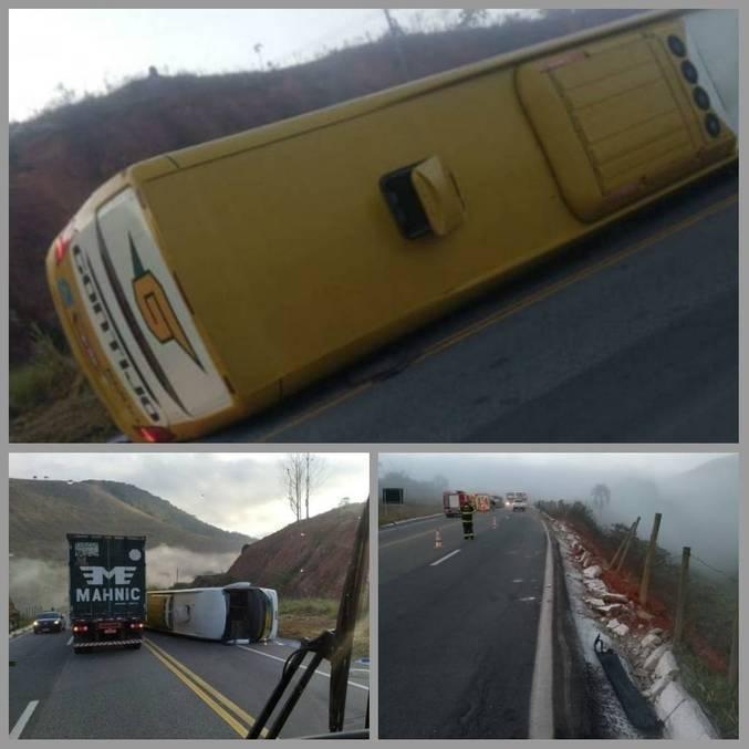 Acidente com ônibus mata uma pessoa e fere outras 10 vítimas