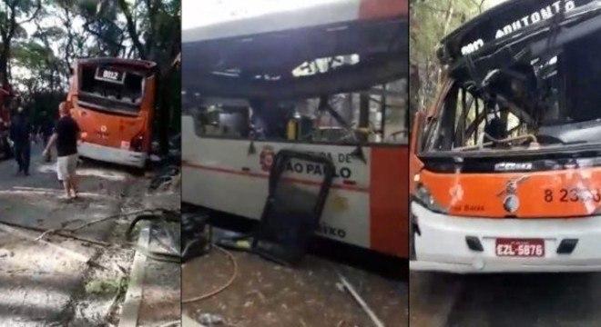 Janela do ônibus onde cobrador ficava foi destruída com o impacto