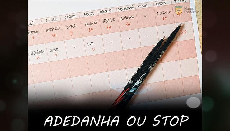 Adedanha, adedonha ou stop: Mais uma que os colégios em todo Brasil formam bons atletas. O ouro olímpico seria nosso!