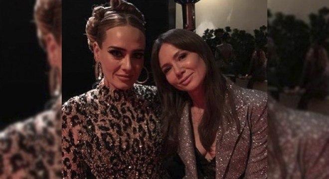 Adele e uma amiga em festa pós-Oscar